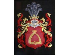 Herb rodowy/herb szlachecki STRZEMIĘ - coat of arms - AHA STUDIO Pracownia Haftu Artystycznego | HAFT ARTYSTYCZNY -HERBY, SZTANDARY, PROPORCZYKI  cena 250 zł.   ZAMÓW