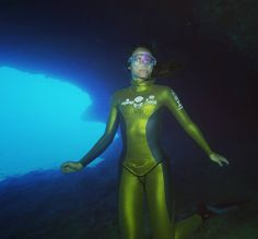 Marina Kazankova world champion freediver deep in a cave on the Great Barrier Reef during filming of The Greatest Reef TV series.  @greatbarrierreefqld @australia #diving  #scubadiving #freediving #underwatercameraman #filming #greatbarrierreef #australia #gh4 #4k #44magnumproductions #tobydejong #fish #SSI #ikelite #freelance by tobydejong http://ift.tt/1UokkV2