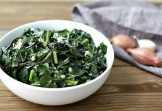 Collards with Shallots and Goat Cheese - not your typical soggy, greasy southern food #collards #cheese #paleo #glutenfree #dairyfree #sidedish