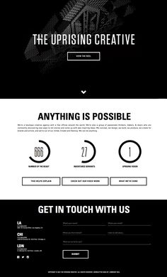 Black and white one pager dedicated to showcasing the new work from digital agency, 'The Uprising Creative' featuring an impressive showreel followed info, infographics and a contact form - text book landing page.