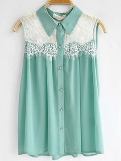 Mint green sleeveless collared blouse with lace detail