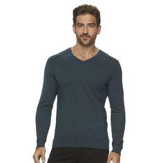 Men's Marc Anthony Slim-Fit Solid Cashmere-Blend V-Neck Sweater, Size: Large, Turquoise/Blue (Turq/Aqua)