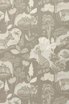 Fox family | Papier peint romantique | Motifs du papier peint | Papier peint des années 70