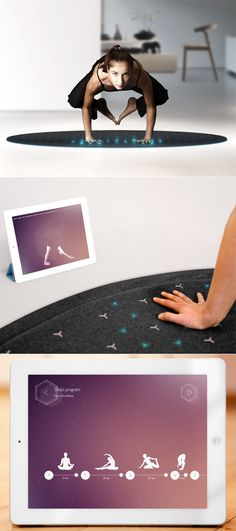 As an elegant carpet it blends into the home environment and as a fitness tool, it transforms into a high-tech yoga mat.