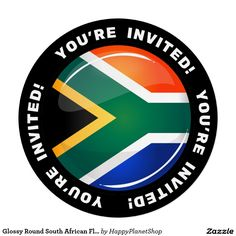 Glossy Round South African Flag Card