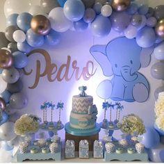 "Festa Infantil Oficial on Instagram: ""Chá de bebê lindo  por @amazingpartiesbogota #chadebebe#babyshower  #festalinda#festadelicada #baloespersonalizados #baloesdesconstruidos…"" Baby Shower Decorations For Boys, Boy Baby Shower Themes, Baby Shower Fun, Baby Shower Parties, Babyshower Themes For Boys, Baby Girl Elephant, Elephant Baby Showers, Peanut Baby Shower, Baby Birthday"