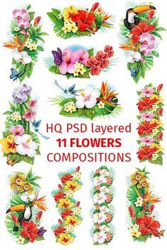 Красочные фиолетовые и желтые букеты и растения (layered PSD)