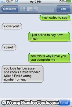 Hahaha. (Wrong Number Text)