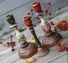 """Купить Подсвечники """"Осенние"""" - коричневый, красный, зеленый, осень, осенний, осенние краски, подарок, подсвечник"""