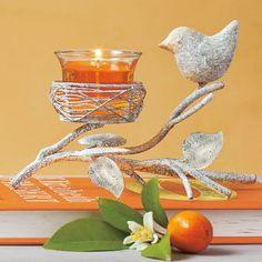 Garden Sanctuary Nest Votive Holder, oranges, gray bird, orange candles, orange book, flame, home decor, spring, weathered metal P91496 By PartyLite