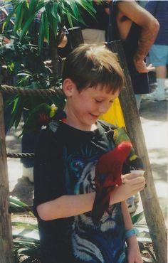 Florida - Busch Gardens in Tampa - Nathan with birds - 2003