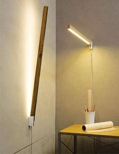 Something akin to an Erector Set that lights up, Stickbulb by Chris Beardsley for Rux makes use of wood scraps, adding to its eco appeal. LED strip lights housed with sleek wooden beams come in lengths from 1 to 7 feet. The beams can be used to create a wall sconce, a minimalist wall-leaning lamp or mounted underneath a shelf. www.ruxdesign.net