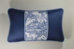 French Country Blue Toile Pillow Cover12x18 by MartasCollection