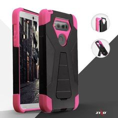 Zizo Hybrid Dual Layer Cover For LG V20 - Heavy Duty Durable Rugged Protector Shell - Lightweight and Ultra Slim Tough Protective Case w/ Kickstand, Pink