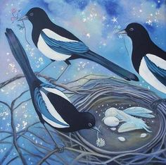 This is a print from an original painting by myself Artist/Illustrator Karen Davis. Print measures approximately 16 x cms within an sheet. Magpie Tattoo, Different Kinds Of Art, Crows Ravens, Rabe, Bird Art, Bird Feathers, Original Paintings, Illustration Art, Drawings
