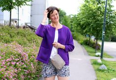 Tall Girl's Fashion // Purple jacket & silk shorts