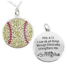 Shields of Strength - Softball Pendant   Phil 4:13