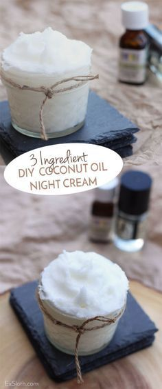 Coconut Oil Uses - 3 ingredient DIY coconut oil night cream 9 Reasons to Use Coconut Oil Daily Coconut Oil Will Set You Free — and Improve Your Health!Coconut Oil Fuels Your Metabolism! Homemade Skin Care, Homemade Beauty Products, Diy Skin Care, Lush Products, Homemade Facials, Natural Products, Makeup Products, Organic Skin Care, Natural Skin Care