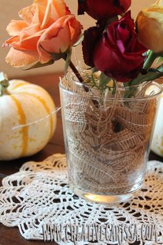 Make a cute fall vase with burlap scraps and items you already have on hand. So easy but so cute!