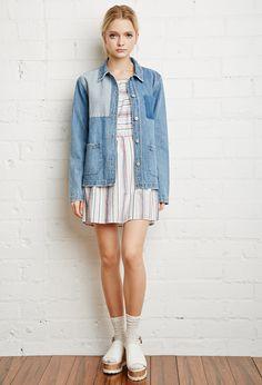 Colorblocked Denim Jacket | Forever 21 - 2000156595