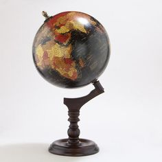 Black Globe with Brown Wood Stand // World Market