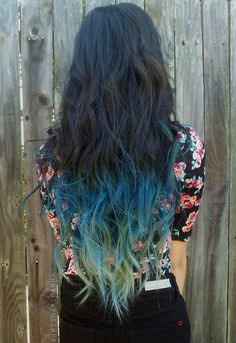 Brunette with blue dip dye / blue ombre hair