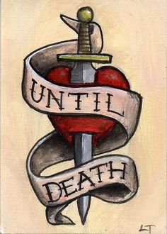 Until Death Dagger and heart tattoo design Art Card by Lee Twigger