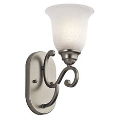 Kichler Lighting Camerena Collection 1-light Brushed Nickel Wall Sconce, Silver (Glass)