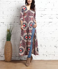 Look at this Beige Paisley Empire-Waist Slit Tunic on #zulily today!