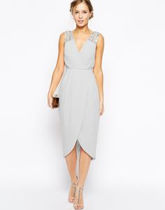 Image 4 of TFNC Midi Dress With Embellished Shoulders And Wrap Skirt