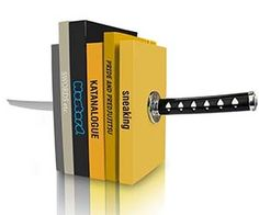 Keep the home or office as tidy as your dojo with help from these katana sword bookends. These killer bookends provide a decorative and functional way to organize all your martial arts how-to books in an orderly manner as you impale them with this mighty weapon.