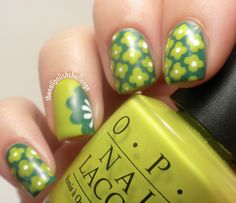 Retro Green Flower Nails With OPI Nail Art