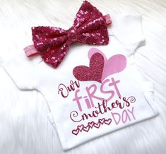 Girls Mother's Day outfit, first Mother's Day shirt, our first Mother's Day, newborn outfit, new mom shirt, Mother's Day shirt, baby girl by PerfectlyPINKBow on Etsy https://www.etsy.com/listing/602849613/girls-mothers-day-outfit-first-mothers