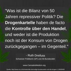 Ruth Dreifuss, Alt-Bundesrätin und schweizer Politikerin, zum Thema repressive Drogenpolitik.