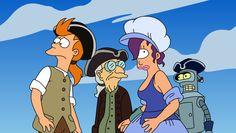 Fry, Leela, Professor Farnsworth and Bender gone back in time