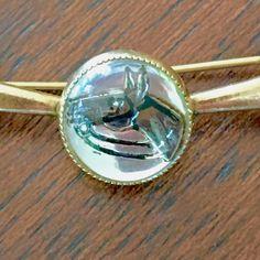 #Horse bit Brooch Vintage Reverse Crystal Painted Intaglio Horse Head Equestrian Jewelry  Wonderful vintage horsebit brooch with center reverse crystal painted intaglio hors... #horse