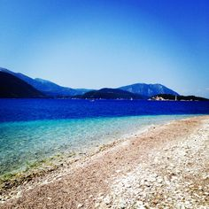 #greece #meganisi #island #beach #sea #sand #magic #colours #blue #green Island Beach, Blue Green, Greece, Colours, Magic, Sea, Mountains, Water, Summer