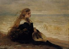 """GEORGE ELGAR HICKS (1824 - 1914) """"On the Seashore"""" 1879"""