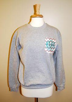 Grey Chevron Pocket Monogrammed Sweatshirt ‹ Walker Pharmacy & Boutique