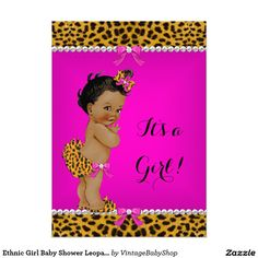 Ethnic Girl Baby Shower Leopard Hot Pink 5x7 Paper Invitation Card