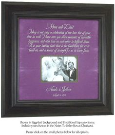 Parents Of The Bride Gift Mother Father Groom Wedding Thank You Frame Celebration Love 16x16