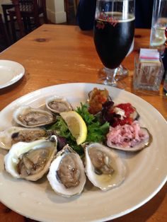 Oysters from the Damariscotta River Grill. They are served with three amazing relishes, fresh and so good!