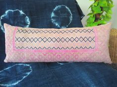 """11"""" x 28"""" Chinese Wedding Blanket Long Lumbar Pillow Cover / Boho Pink Tan and Indigo Vintage Ethnic Dowry Textile / Handwoven Silk Cushion by HillTribesTreasures on Etsy"""
