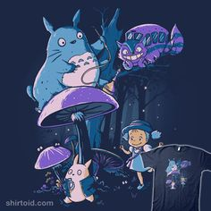 """""""My Neighbor Alice"""" by Di.Jay.   A mashup of My Neighbor Totoro and Alice in Wonderland"""