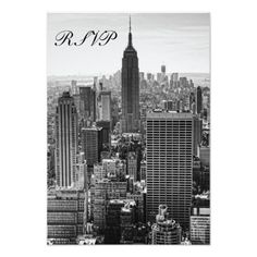 RSVP NY City Skyline Empire State Bldg, WTC BW Personalized Announcement