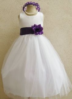 124 best flower girl dresses images on pinterest flower girls classykidzshop white satin tulle flower girl dress with purple sash mightylinksfo
