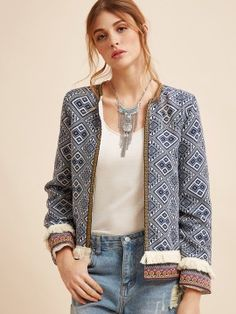 Shop Fringe Trim Tribal Jacket With Embroidered Tape online. SheIn offers Fringe Trim Tribal Jacket With Embroidered Tape & more to fit your fashionable needs. Boho Chic, Bohemian Mode, Coats For Women, Jackets For Women, Clothes For Women, Short Jackets, Casual Jackets, Bohemian Schick, Boho Fashion