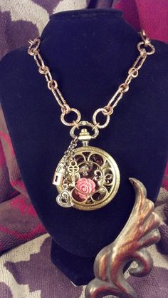 handmade watch full of treasures necklace