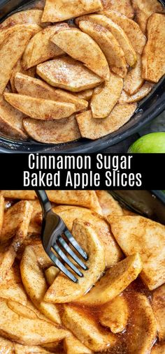 This easy recipe for baked apple slices adds a little cinnamon and sugar to green apples for the perfect fall dessert! Cinnamon and sugar apple slices are baked in the oven until they are bubbling and perfectly cooked. Green Apple Recipes, Best Apple Desserts, Quick Apple Dessert, Apple Recipes Easy, Apple Dessert Recipes, Fun Baking Recipes, Fruit Recipes, Cooking Recipes, Snacks
