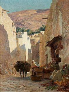Algérie - Peintre Français Eugène Alexis GIRARDET (1853-1907) , Huile sur toile Titre : Rue animée de Bou-Saada